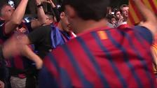 Euforia culé en Canaletas para festejar el primer título de la temporada