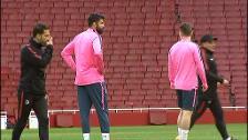 Último entrenamiento del Atleti antes del choque contra el Arsenal