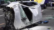 Una mujer resulta herida tras volcar su vehículo en la AP-8 en Galdakao